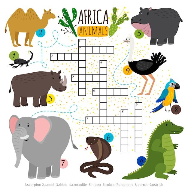 Африканское сафари животных кроссворд Premium векторы