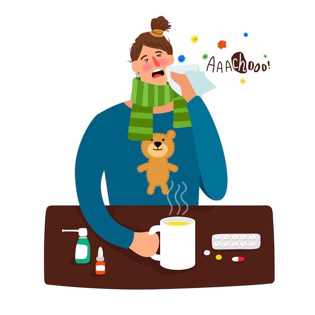 発熱と病気の少女漫画 Premiumベクター
