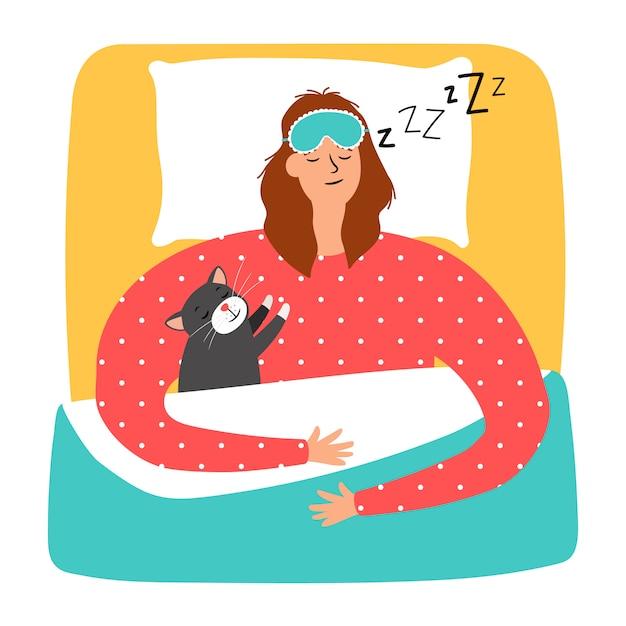 Спящая женщина и кошка Premium векторы