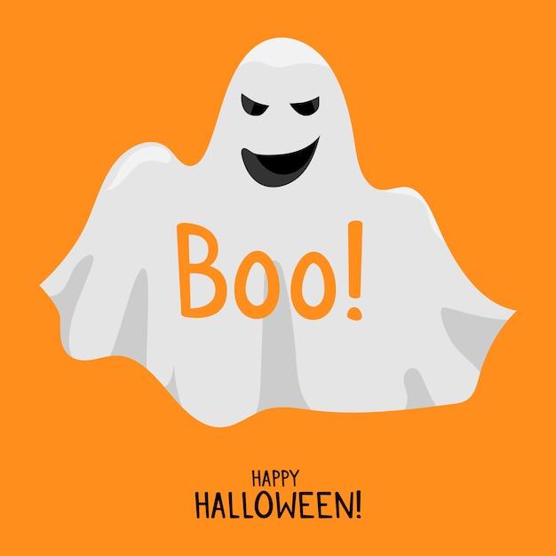 ハロウィーンの幽霊。かわいい笑顔の白い幽霊。ハッピーハロウィンカードテンプレート Premiumベクター