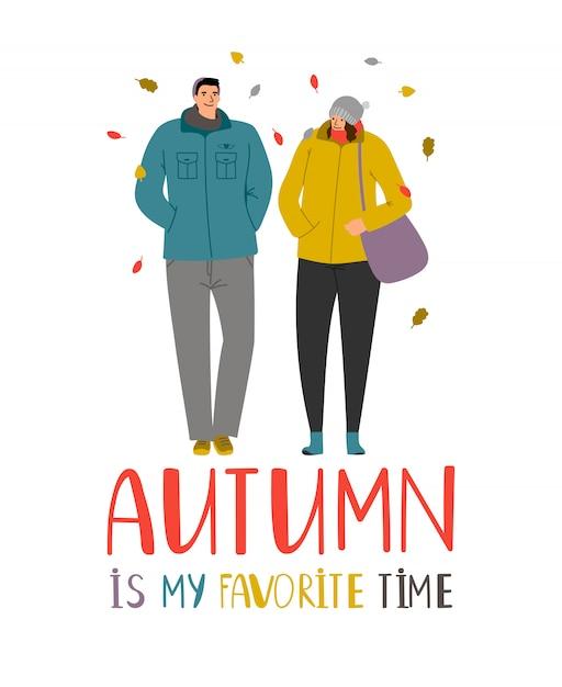 秋のカップル。落ち葉の若者、白で隔離秋の公園で家族カップルが大好き Premiumベクター