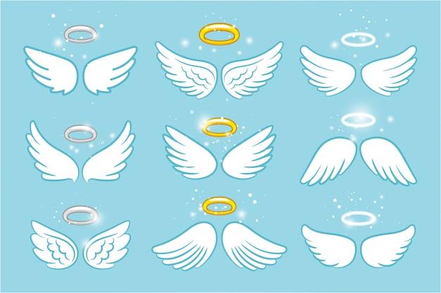 翼とニンバス。天使の翼の栄光ハローかわいい漫画の絵 Premiumベクター
