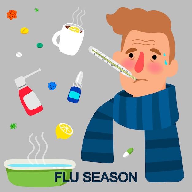 インフルエンザシーズン漫画コンセプト Premiumベクター