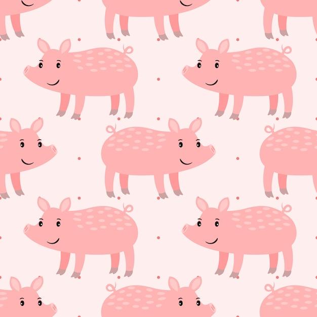 Симпатичная розовая свинья Premium векторы
