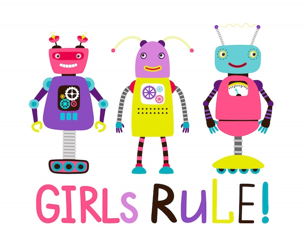 Симпатичный робот-футболка для девочек Premium векторы