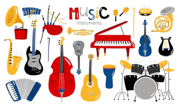 Мультфильм музыкальные инструменты Premium векторы