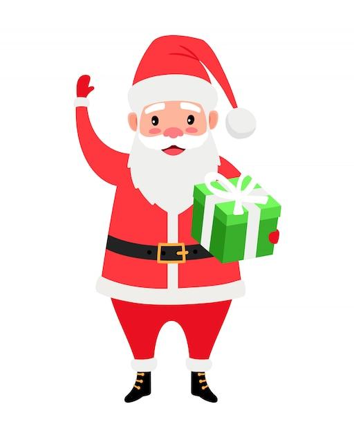 Санта и подарочная коробка Premium векторы