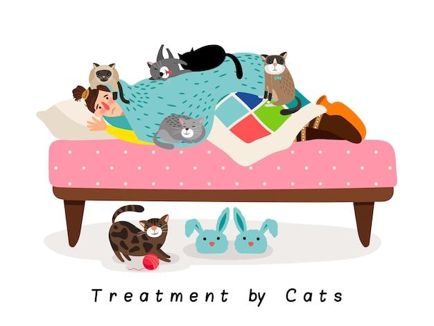 Лечение кошками Premium векторы