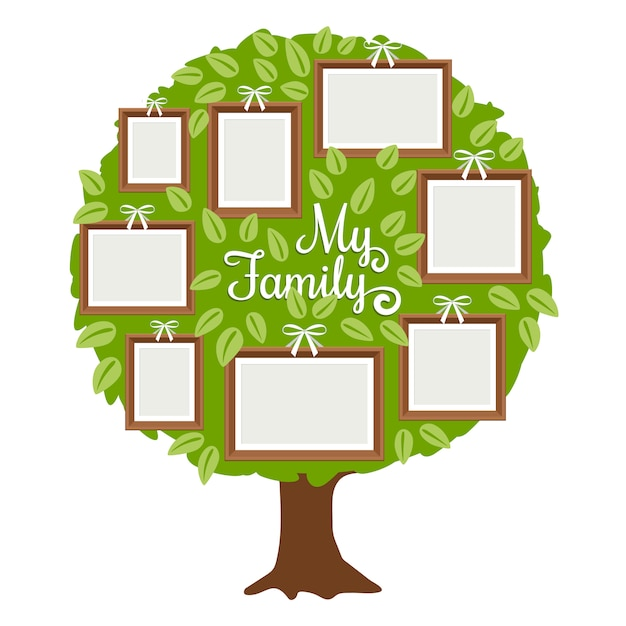 Зеленое генеалогическое дерево с рамками Premium векторы