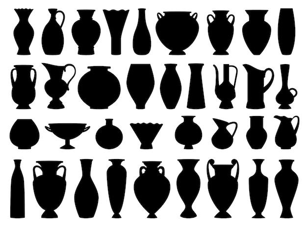 Винтажные греческие вазы черного силуэта Premium векторы