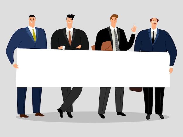Бизнесмены, держа знамя. группа мужчин активистов иллюстрации Premium векторы