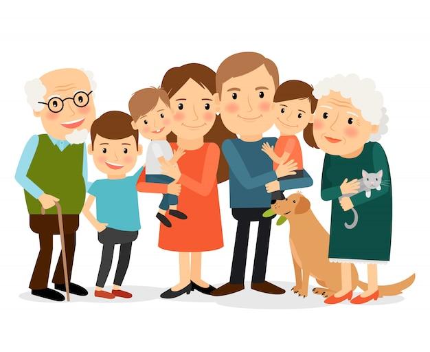 Счастливый большой семейный портрет Premium векторы