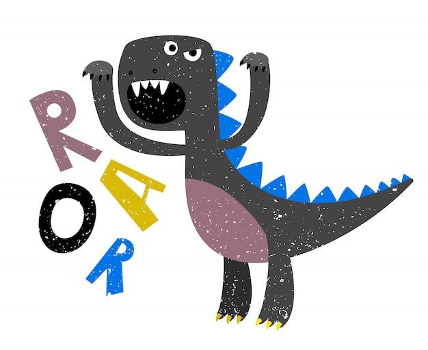 Детский рисунок страшного рычащего плоского динозавра Premium векторы