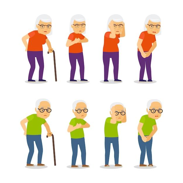 Набор стариков и женщин Premium векторы