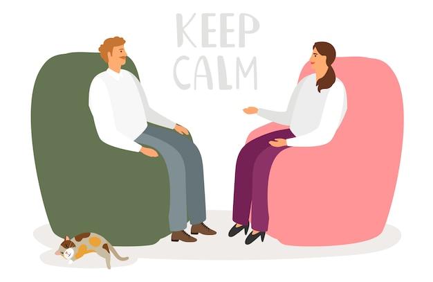Мужчина и женщина разговаривают в непринужденной обстановке Premium векторы