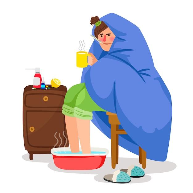 Больная женщина в одеяле иллюстрации Premium векторы