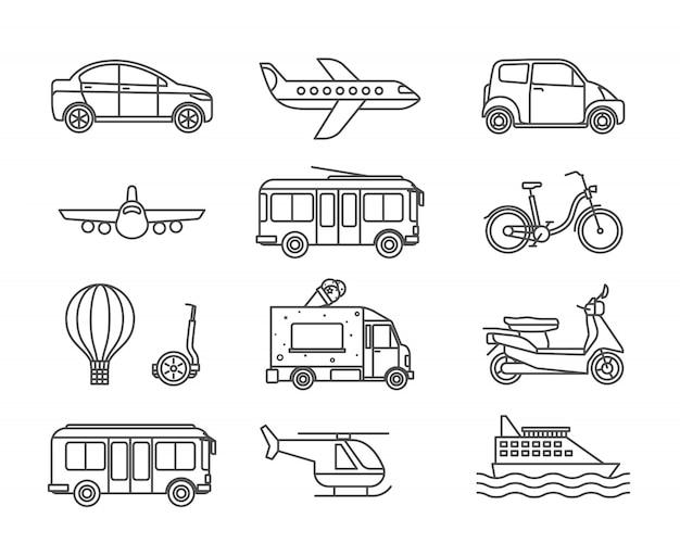 Значки транспортной линии Premium векторы