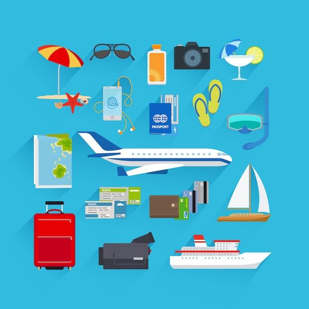 旅行フラットアイコン Premiumベクター