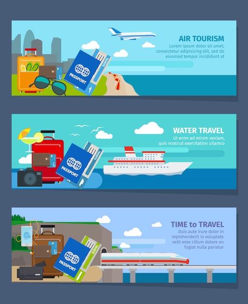 Туристические баннеры в современном стиле плоский векторные иллюстрации Premium векторы