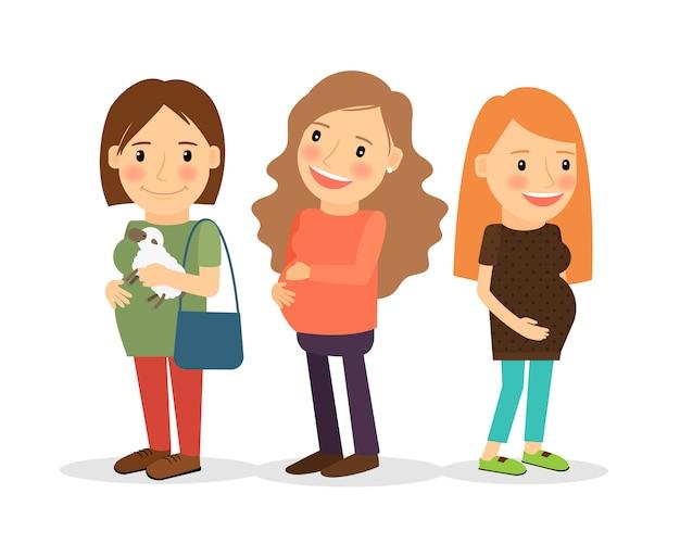 幸せな妊娠中の女性のアイコンを笑顔 Premiumベクター
