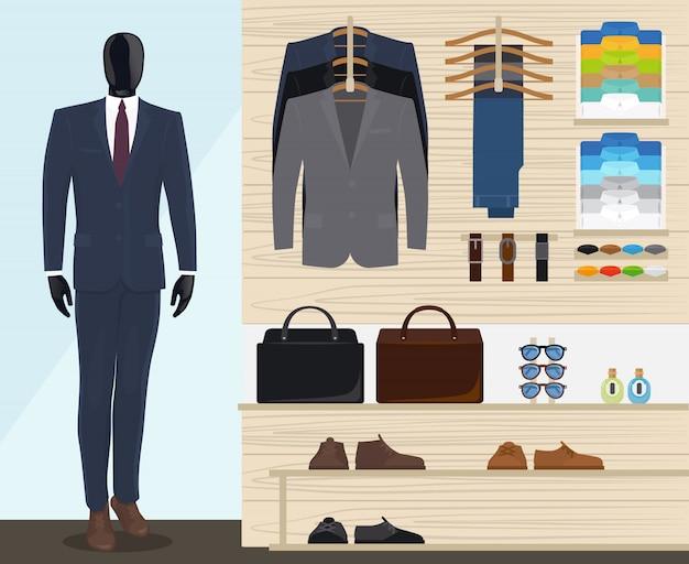 男の衣料品店のベクトル図 Premiumベクター