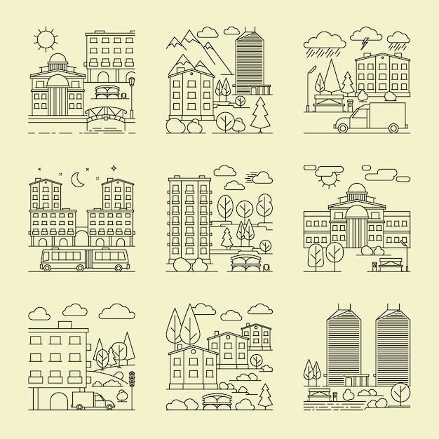 Городские пейзажи линейного стиля Premium векторы