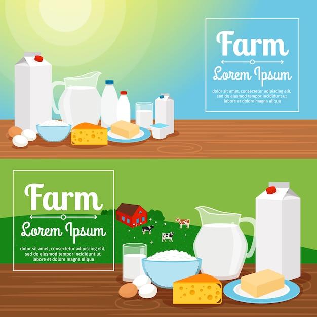 牛乳農場のバナー Premiumベクター