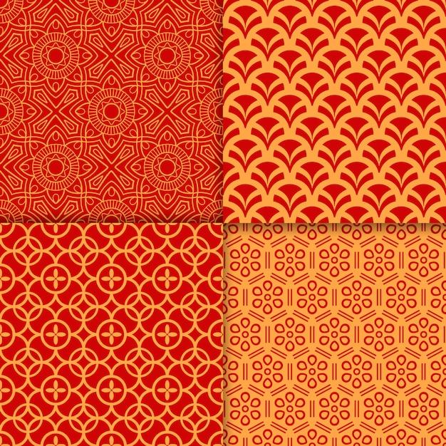 中国赤の幾何学模様セット Premiumベクター