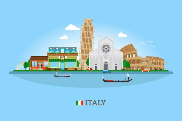 Италия горизонт с достопримечательностями Premium векторы