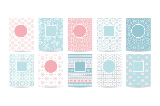 ピンクのパターンを持つロマンチックな名刺テンプレート Premiumベクター