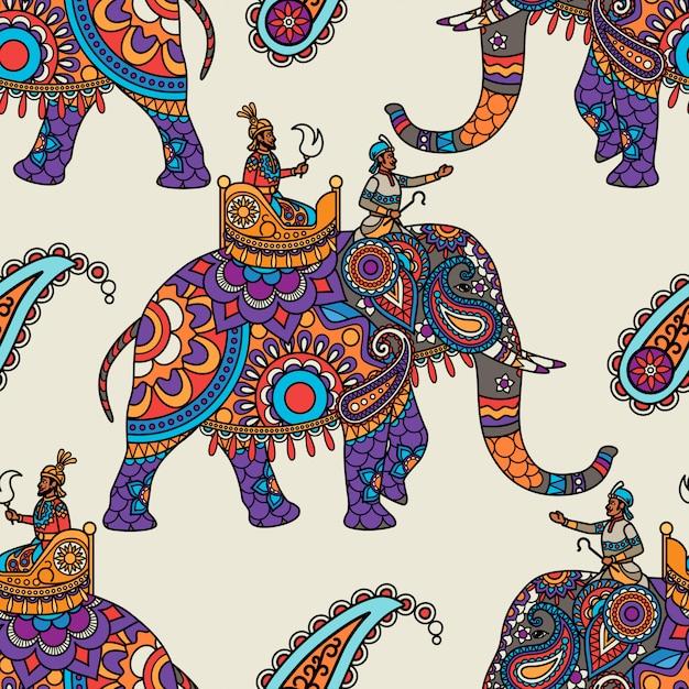インドのマハラジャ手描きのシームレスパターン Premiumベクター