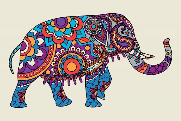 インドの華やかな象の色付き Premiumベクター