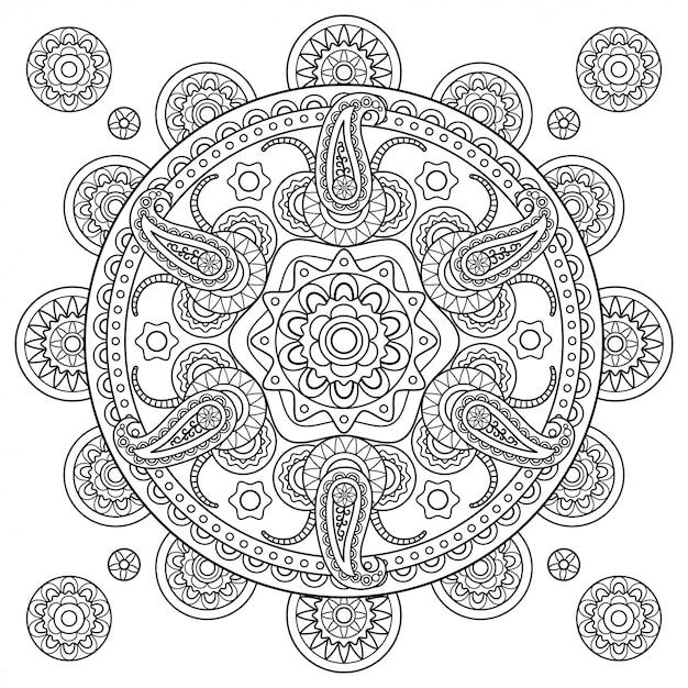 Индийская пейсли каракули рисованной мандалы Premium векторы