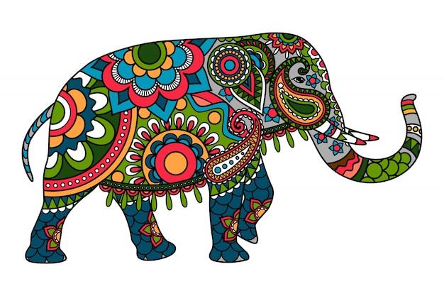 Цветной рисунок индийский слон Premium векторы