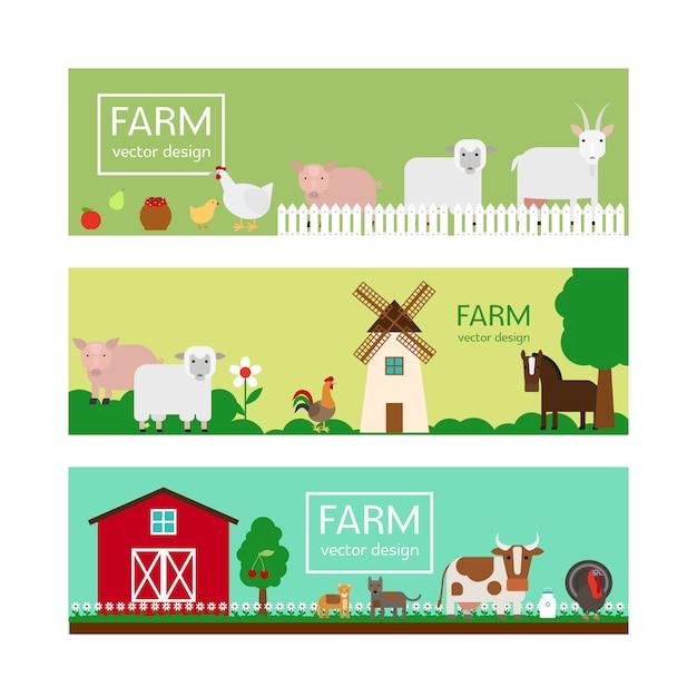 農場の動物フラットスタイルのバナーのテンプレート Premiumベクター