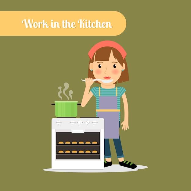 台所で食べ物を調理する女性 Premiumベクター