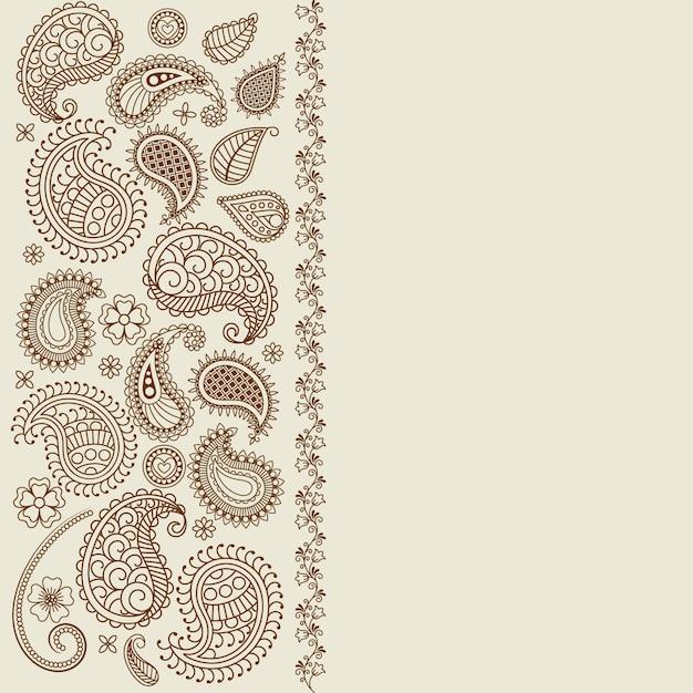 Пейсли лист хны элементы поздравительной открытки Premium векторы