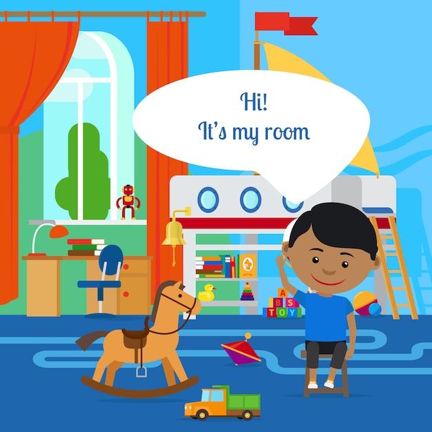 メッセージバブルと部屋を持つ少年 Premiumベクター