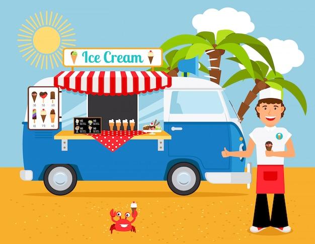 アイスクリームトラックのベクトル図 Premiumベクター