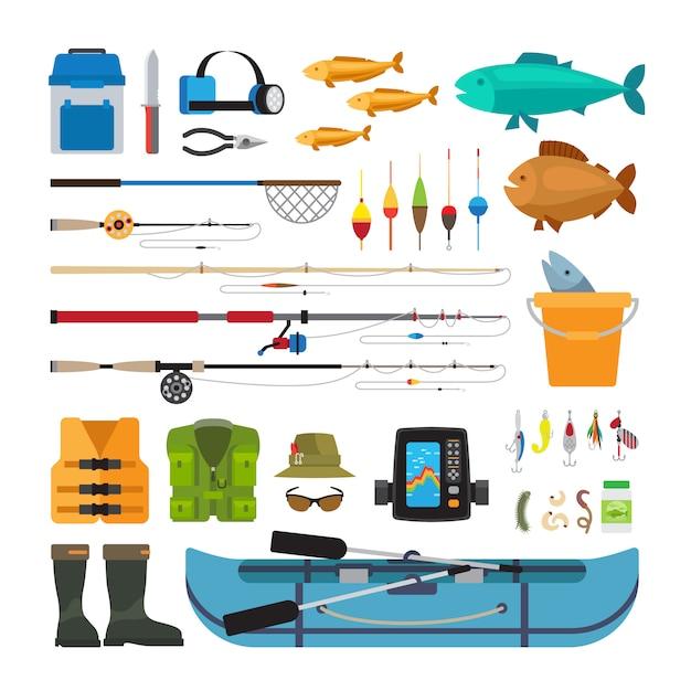 釣りベクトルフラットアイコンの白い背景で隔離 Premiumベクター