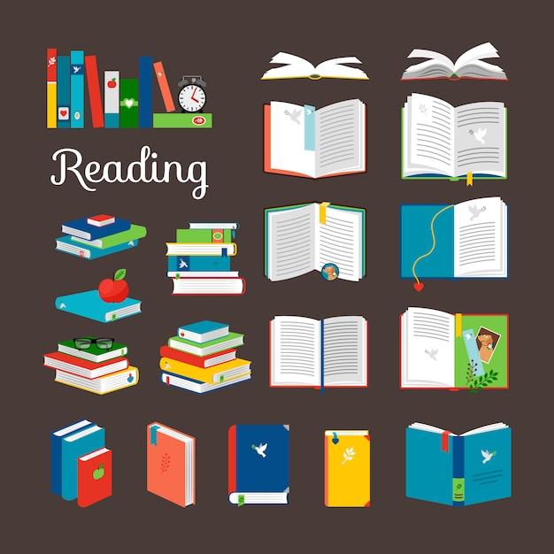 Чтение книги векторный мультфильм иконки набор Premium векторы