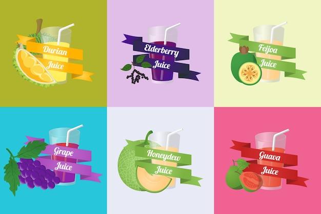 フルーツジュースベクトル Premiumベクター
