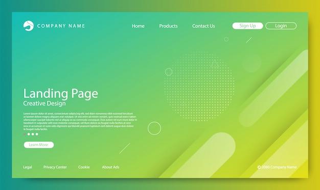 ウェブサイトのランディングページのグラデーションカラーの背景 Premiumベクター