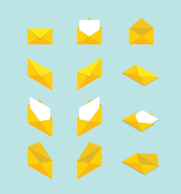 封筒セットコレクションさまざまな形とアイソメトリックモダンなフラットスタイルのコンセプト Premiumベクター
