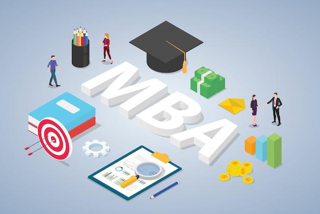 Магистр делового администрирования, концепция образования и команда людей с изометрическим современным стилем Premium векторы
