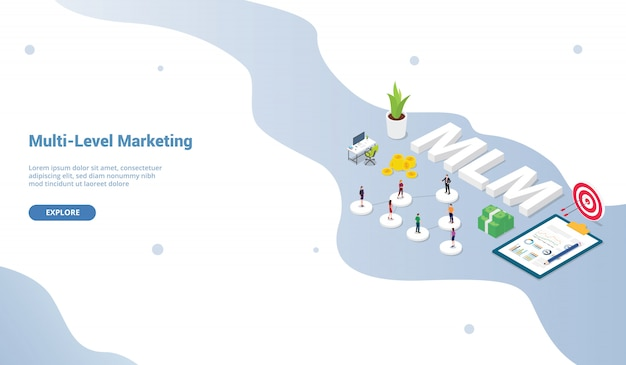 ウェブサイトテンプレートまたはランディングホームページ等尺性のマルチレベルマーケティングビジネスコンセプトバイナリツリーの概念 Premiumベクター