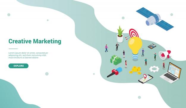 Творческая маркетинговая команда людей бизнес-концепция с большими идеями для шаблона веб-сайта или целевой страницы с современным изометрическим плоским стилем Premium векторы