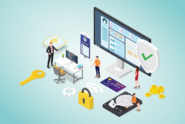 Концепция кибербезопасности с людьми из команды и программистом безопасного кода с современным плоским стилем и изометрическим дизайном Premium векторы
