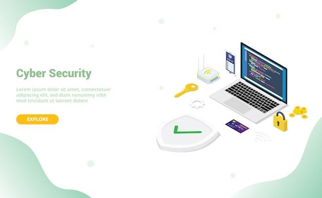 Концепция кибербезопасности с людьми из команды и программистом безопасного кода с современным плоским стилем и изометрическим дизайном для шаблона веб-сайта или целевой страницы Premium векторы