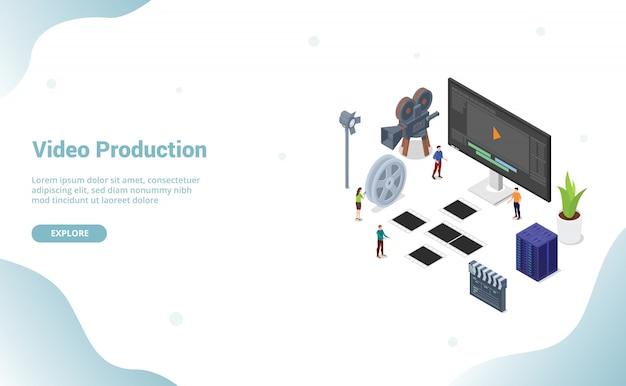 ウェブサイトテンプレートまたはランディングホームページのチームメンバーとのビデオ編集制作 Premiumベクター